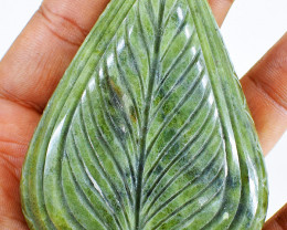 Genuine 970.00 Cts Green Garnet Carved Gemstone
