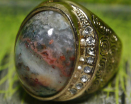 107.60 CT UNTREATED Beautiful Abstract Picture Indonesian Agate Ring Jewelr