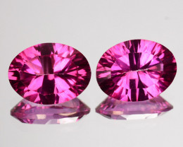Matching Pair Raspberry Pink Natural Topaz Concave Cut 2.72 Cts