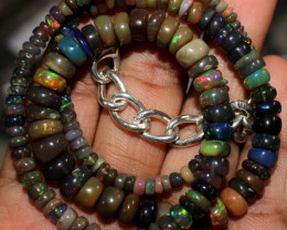 66 Crt Natural Ethiopian Fire Welo Smoked Opal Beads Necklace 70