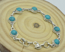 TURQUOISE NATURAL UNTREATED  BRACELET 925 STERLING SILVER JE1535