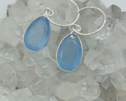 EARRINGS 925 STERLING SILVER CHALCEDONY  NATURAL GEMSTONE JE1538