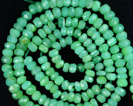 Pista Green 28.11Ct Untreated Natural Chrysoprase Rondelle Faceted Beads 34