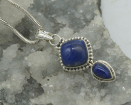 CERTIFIED  PENDANT 925 STERLING SILVER LAPIS LAZULI  NATURAL GEMSTONE JE154