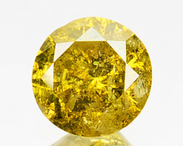 0.30 Cts Natural Diamond Golden Yellow Round Cut Africa