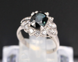 Paraiba Color Tourmaline Ring 2.96g 925 Sterling Silver Ring A1003