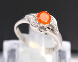 Fire Opal Ring 3.53g Natural Mexican Fire Opal 925 Sterling Silver Ring A10