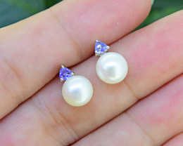 N/R Natural Tanzanite & Pearl 925 Sterling Silver EarringsSSE0496