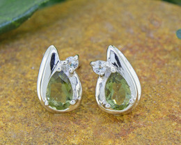 N/R Natural Moldavite  925 Sterling Silver Earrings(SSE0489)