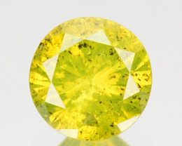 0.39 Cts Natural Diamond Golden Yellow Round Cut Africa