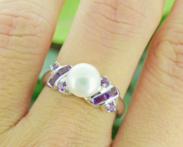 Pearl & Natural Amerhyst 925 Sterling Silver Ring (SSR0479 )