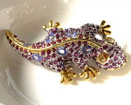 'Bejewelled Gecko' Rhodolite Garnet Tanzanite Sapphire Brooch