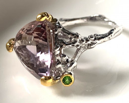 Ametrine Chrome Diopside .925 Sterling Gold Ring 38.00cts