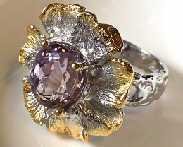 Moon Flower Amethyst Gold and Silver Ring Size 7.5 Gorgeous