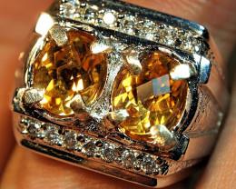 60.75crt BEAUTYFULL CHACKERBOARD YELLOW CITRINE CUSTOM RING