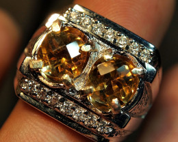 55.00CRT BEAUTY GOLDEN CITRINE CUSTOM RING ZIRCONIA