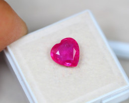 2.83ct Pinkish Ruby Composite Heart Cut Lot V3561