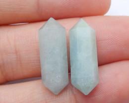 Aquamarine Cabochon Pairs ,Handmade Gemstone ,Lucky Stone B637
