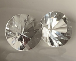 Brilliant cut White Topaz Pair 8.8mm VVS gems -