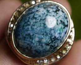 "103.85 CT Indonesian Blue Jasper ""Batik Motif"" Ring Jewelry"