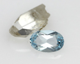 1.85cts Before and After Sample Set of Topaz Crystal and Cut Oval
