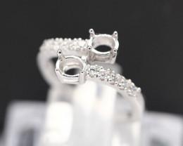Semi Mount 4.5x3.5mm 18K Fine Jewelry White Gold G/VS Diamond Ring V29