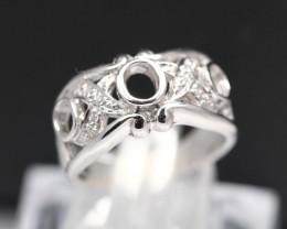 Semi Mount 4x3mm 18K Fine Jewelry White Gold G/VS Diamond Ring V30