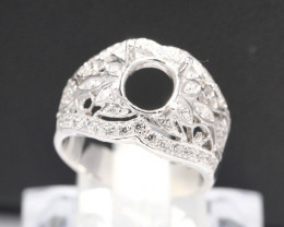 Semi Mount 8x7mm 18K Fine Jewelry White Gold G/VS Diamond Ring V36
