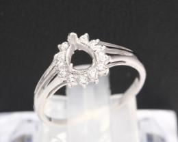 Semi Mount 6x5 , 6x4.5mm 18K Fine Jewelry White Gold G/VS Diamond Ring P06