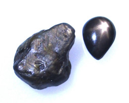 2.68cts Natural Before and After Sample Set of Rough and Cut Black Star Sap