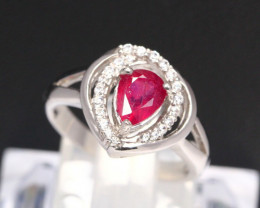Ruby 3.36g Mozambique Red Ruby 925 Sterling Silver Ring B1501