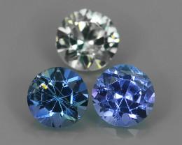 1.05 CTS AWESOME NICE QULITY MIXED ROUND 3 PCS BLUE~GREEN NATURAL TANZANITE