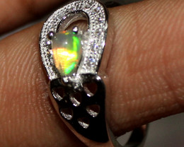 Natural Ethiopian Welo Fire Opal 925 Silver Ring Size ( 8.5 US) 9