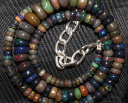 86 Crt Natural Ethiopian Welo Fire Smoked Opal Beads Necklace 20
