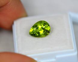 3.35ct Green Peridot Pear Cut Lot V3590