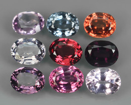 3.70 CTS~ADAROBLE RARE NATURAL FANCY SPINEL TOP COLOR 9 PCS!!