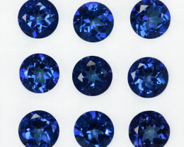 8.86 Cts Metallic Blue Natural Topaz 6mm Round 9Pcs Brazil