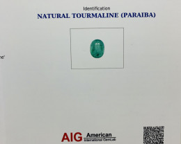 AIG Certified 13.37 Ct Great Hue and Color Natural Paraiba Tourmaline