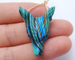 Handmade Rainbow Jasper Carved Wolf Head Pendant Bead ,Animal Pendant H4088