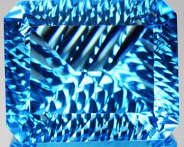 ~MILLENNIUM CUT~ 61.44 Cts Natural Sky Blue Topaz Octagon (Emerald Cut) Bra