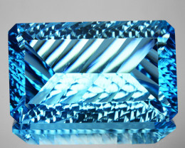 ~MILLENNIUM CUT~ 50.05 Cts Natural Sky Blue Topaz Octagon (Emerald Cut) Bra