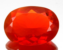 ~RARE~ 3.47 Cts Natural Mexican Fire Opal Fiery Red Oval Cut Mexico