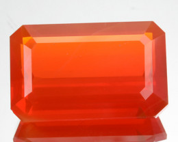 ~RARE~ 10.58 Cts Natural Mexican Fire Opal Fiery Red Octagon Cut Mexico