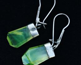 24 Ct Natural Greenish Hydrogrosullar Pure Silver Earrings Pairs