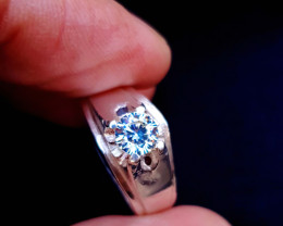 21 Ct Natural White Moissanite Transparent Silver Ring US Size 6