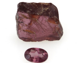 5.09cts Before and After set Rough and Pear Cut Rhodolite Garnet Samples