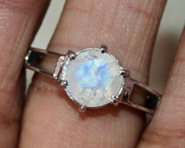 Natural Rainbow Moonstone 925 Silver Ring Size ( 7.5 US) 61