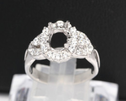Semi Mount 8x7mm 18K Fine Jewelry White Gold G/VS Diamond Ring V49