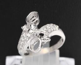 Semi Mount 4.5x3.5mm 18K Fine Jewelry White Gold G/VS Diamond Ring V55