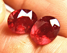 7.44 Carat Fiery Ruby Pair - Gorgeous